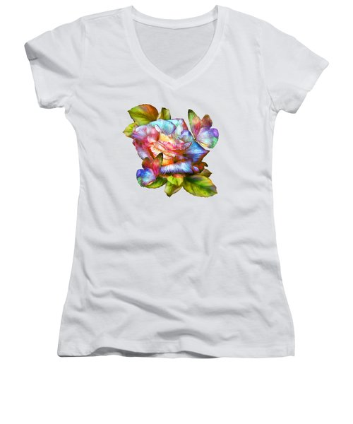 Rainbow Rose And Butterflies Women's V-Neck T-Shirt