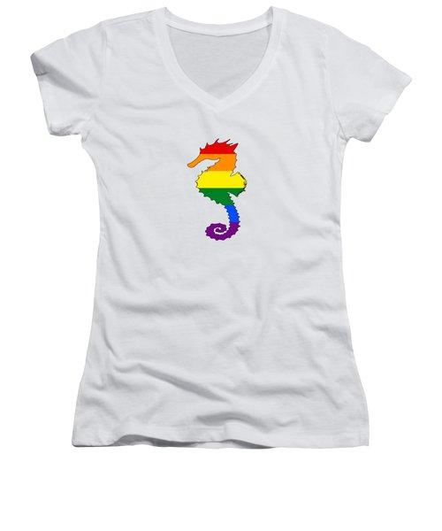 Rainbow Seahorse Women's V-Neck T-Shirt (Junior Cut) by Mordax Furittus