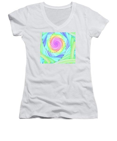Rainbow Spiral Women's V-Neck