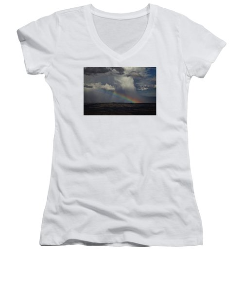 Women's V-Neck T-Shirt (Junior Cut) featuring the photograph Rainbow Storm Over The Verde Valley Arizona by Ron Chilston
