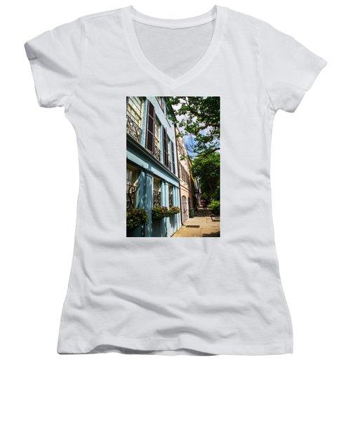Women's V-Neck T-Shirt (Junior Cut) featuring the photograph Rainbow Street by Karol Livote