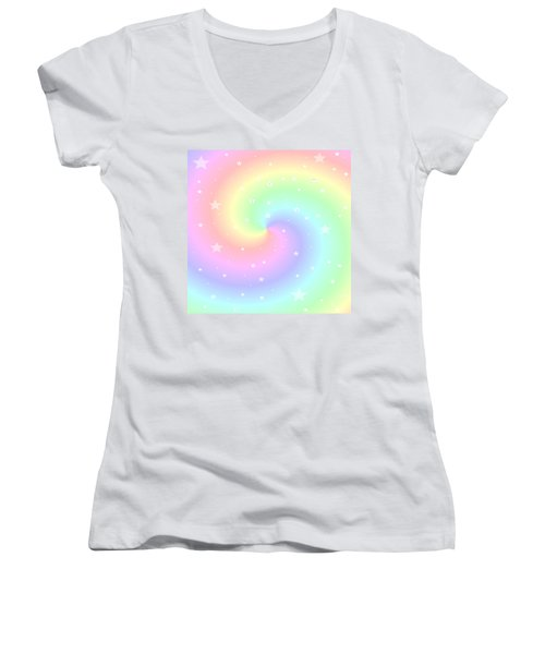 Rainbow Swirl With Stars Women's V-Neck