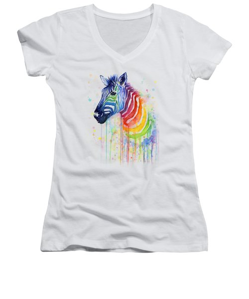 Rainbow Zebra - Ode To Fruit Stripes Women's V-Neck T-Shirt