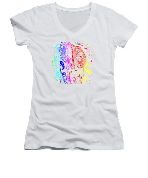 Rainbow Zentangle Elephant Women's V-Neck