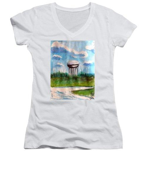 Raines Road Watertower Women's V-Neck T-Shirt (Junior Cut) by Loretta Nash