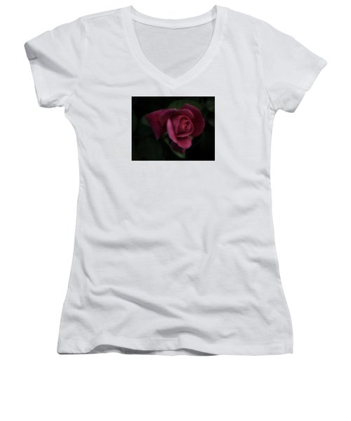 Rambling Rose Women's V-Neck T-Shirt (Junior Cut) by Richard Cummings