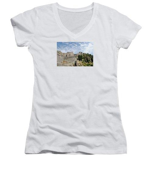 Women's V-Neck T-Shirt (Junior Cut) featuring the photograph Ramparts Of Montenegro by Robert Moss