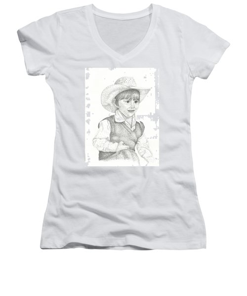 Women's V-Neck T-Shirt (Junior Cut) featuring the drawing Ranch Hand by Mayhem Mediums