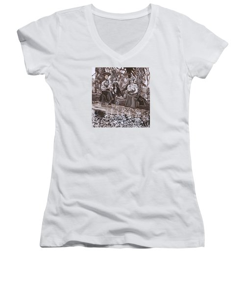 Women's V-Neck T-Shirt (Junior Cut) featuring the painting Ranch Women Picking Berries Historical Vignette by Dawn Senior-Trask