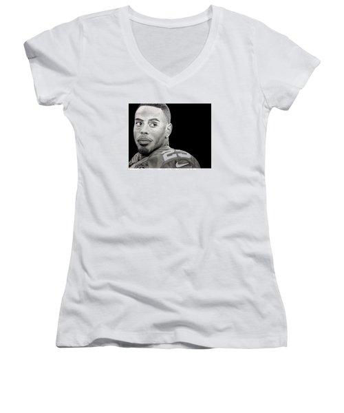 Rashad Jennings Drawing Women's V-Neck T-Shirt