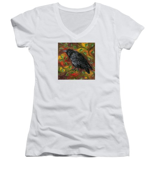 Raven In Autumn Women's V-Neck