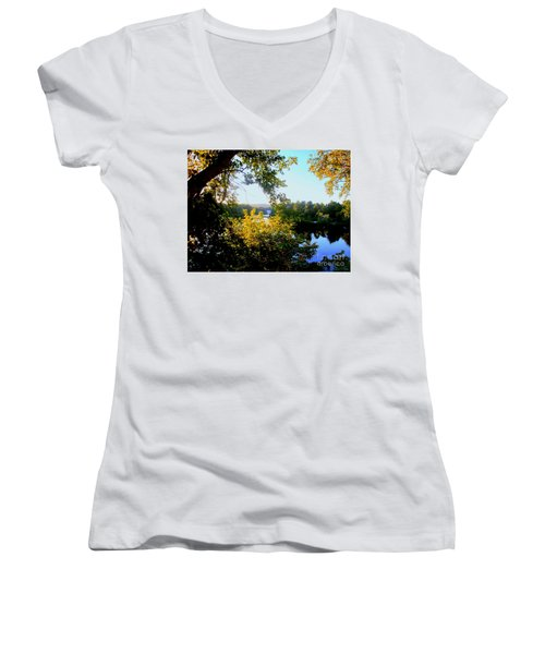 Women's V-Neck T-Shirt (Junior Cut) featuring the photograph Rawdon by Elfriede Fulda