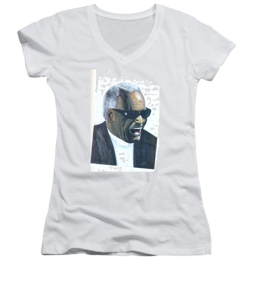 Women's V-Neck T-Shirt (Junior Cut) featuring the painting Ray Charles by Emmanuel Baliyanga