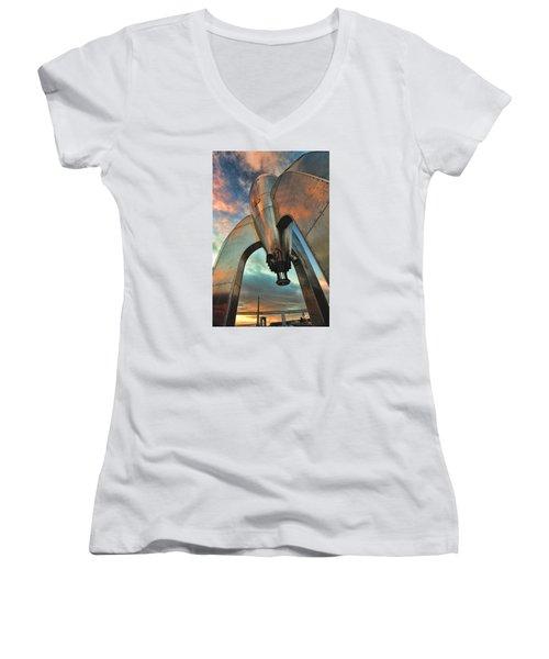 Women's V-Neck T-Shirt (Junior Cut) featuring the photograph Raygun Gothic Rocketship Blast-off by Steve Siri