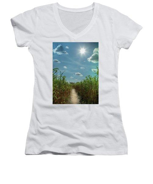 Rays Of Hope Women's V-Neck T-Shirt (Junior Cut) by Karen Wiles