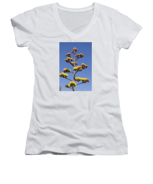 Reaching To The Sky Women's V-Neck T-Shirt (Junior Cut) by Laura Pratt