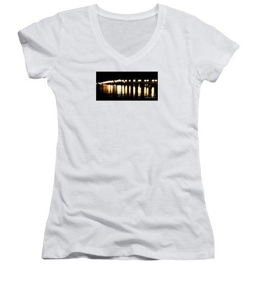 Bridge Of Lions -  Old City Lights Women's V-Neck T-Shirt (Junior Cut) by LeeAnn Kendall