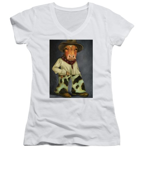 Women's V-Neck T-Shirt (Junior Cut) featuring the painting Real Cowboy 2 by Leah Saulnier The Painting Maniac
