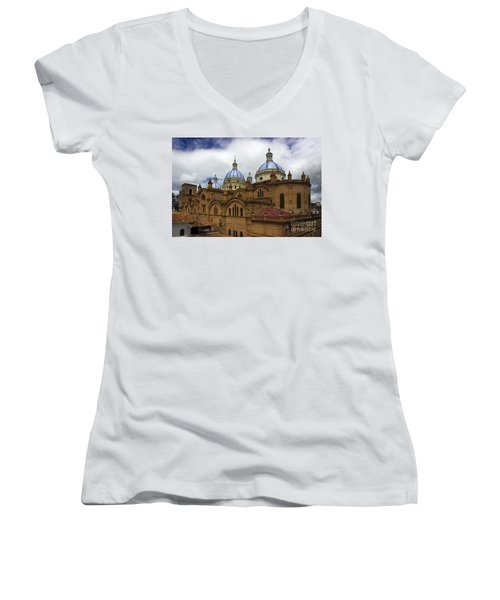 Rear Corner View Of Immaculate Conception Cathedral Women's V-Neck T-Shirt (Junior Cut) by Al Bourassa