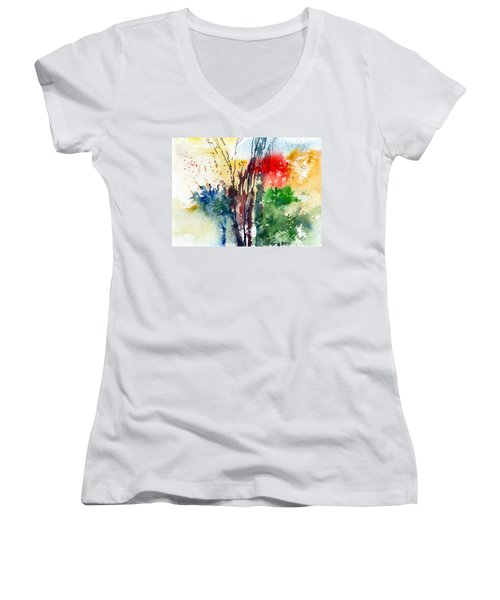 Red And Green Women's V-Neck T-Shirt (Junior Cut)