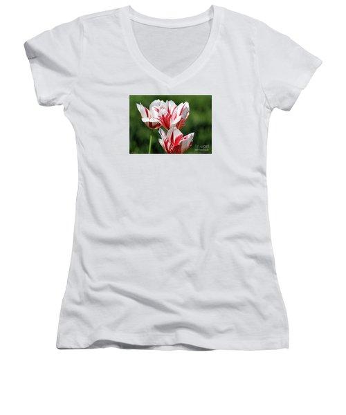 Red And White Stripes Women's V-Neck T-Shirt