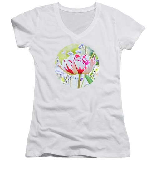 Red And White Tulip Women's V-Neck T-Shirt (Junior Cut) by Terri Waters