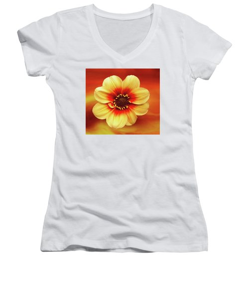 Red And Yellow Inspiration Women's V-Neck