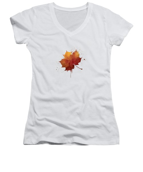 Red Autumn Leaf Women's V-Neck T-Shirt (Junior Cut) by Thubakabra