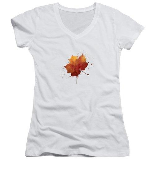 Red Autumn Leaf Women's V-Neck T-Shirt