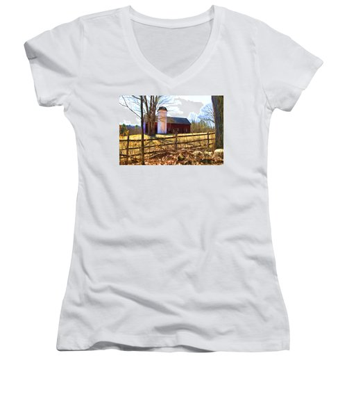 Red Barn And Silo  Women's V-Neck