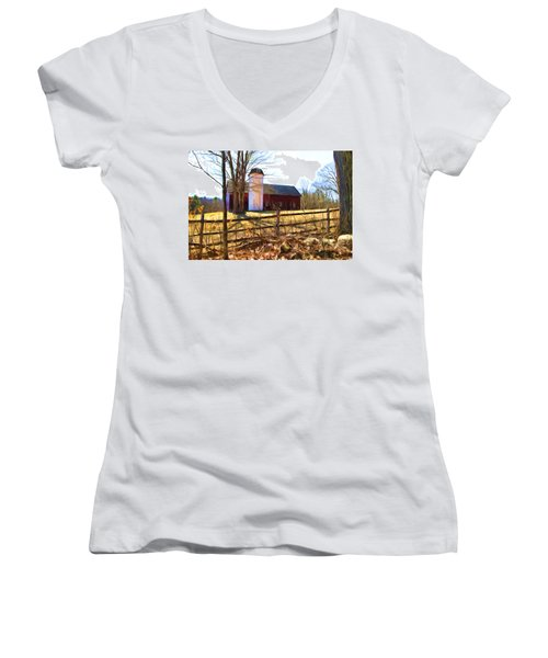 Red Barn And Silo  Women's V-Neck (Athletic Fit)