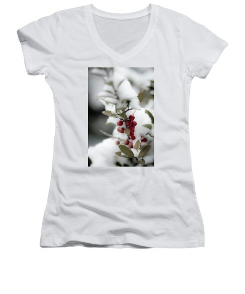 Red Berries Women's V-Neck (Athletic Fit)