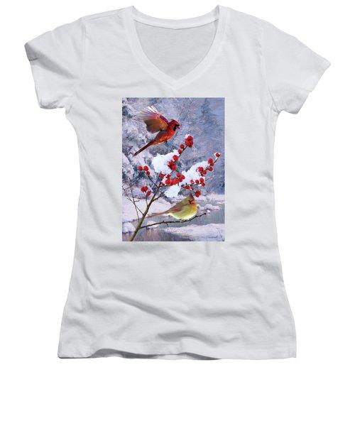 Red Birds Of Christmas Women's V-Neck
