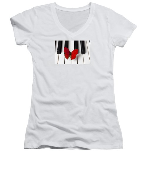 Red Butterfly On Piano Keys Women's V-Neck T-Shirt (Junior Cut) by Garry Gay