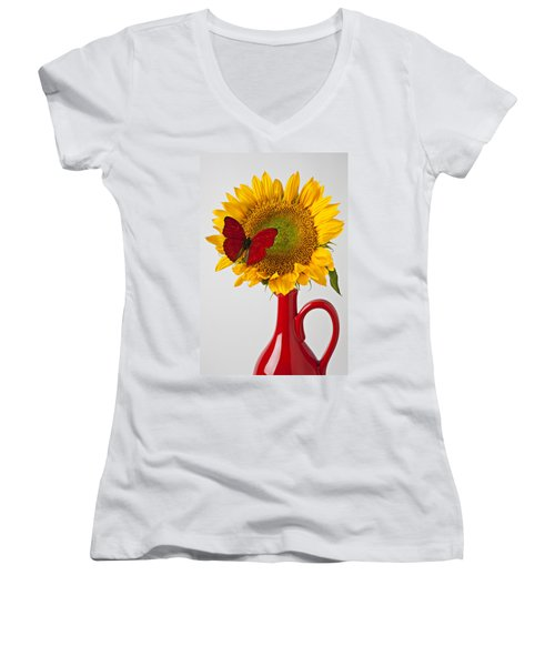 Red Butterfly On Sunflower On Red Pitcher Women's V-Neck