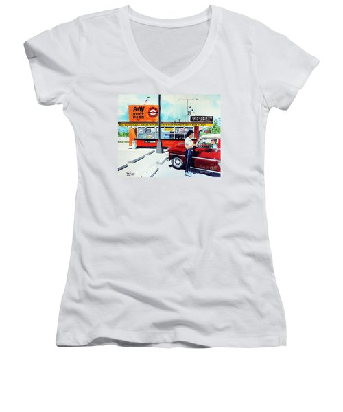 Red Car At The A And W Women's V-Neck T-Shirt (Junior Cut) by Tom Riggs