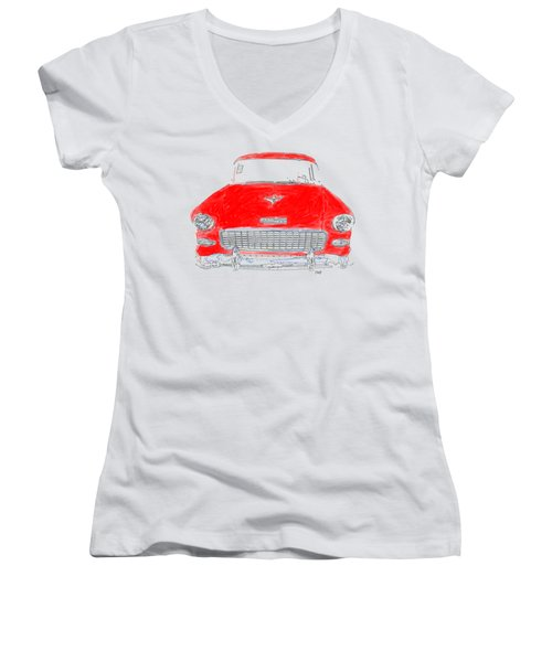 Red Chevy T-shirt Women's V-Neck (Athletic Fit)