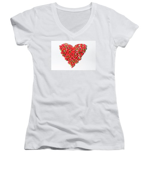 Red Chillie Heart II Women's V-Neck (Athletic Fit)
