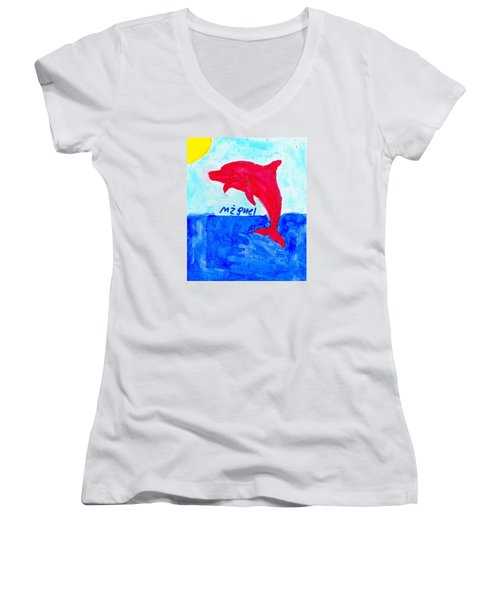 Red Dolphin Women's V-Neck T-Shirt (Junior Cut) by Artists With Autism Inc