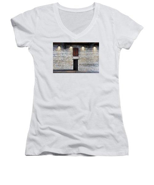 Red Door Women's V-Neck T-Shirt (Junior Cut) by David Blank