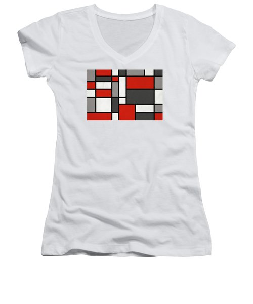 Red Grey Black Mondrian Inspired Women's V-Neck