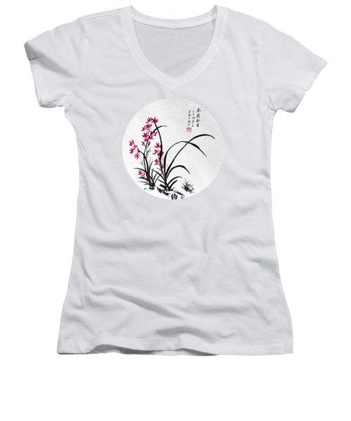 Red Iris - Round Women's V-Neck T-Shirt (Junior Cut) by Birgit Moldenhauer