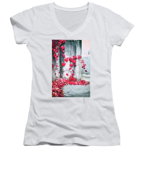 Women's V-Neck T-Shirt (Junior Cut) featuring the photograph Red Ivy Leaves by Silvia Ganora