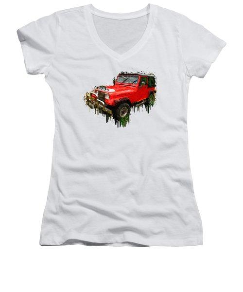 Red Jeep Off Road Acrylic Painting Women's V-Neck T-Shirt (Junior Cut) by Georgeta Blanaru