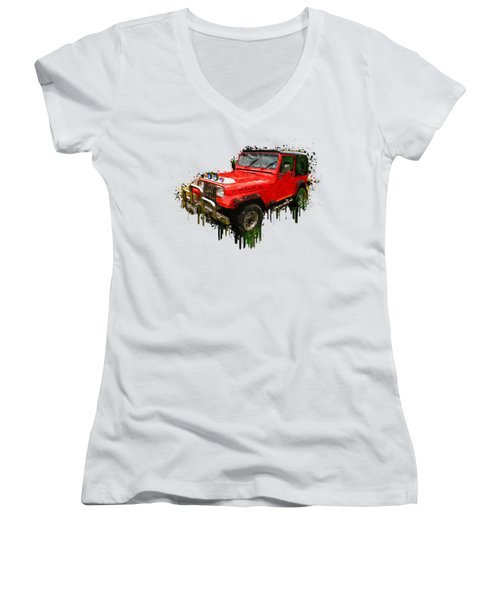 Red Jeep Off Road Acrylic Painting Women's V-Neck