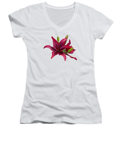Red Lilies Women's V-Neck (Athletic Fit)