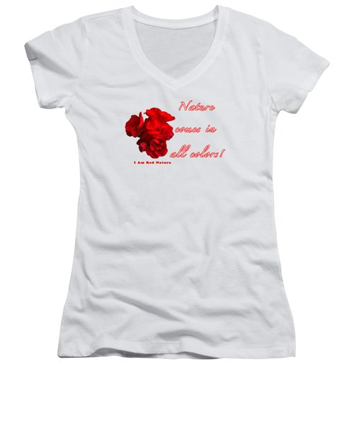 Red Nature Women's V-Neck T-Shirt (Junior Cut) by Terry Wallace