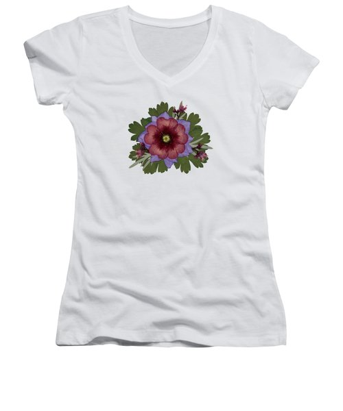Red Open Faced Potentilla Pressed Flower Arrangement Women's V-Neck