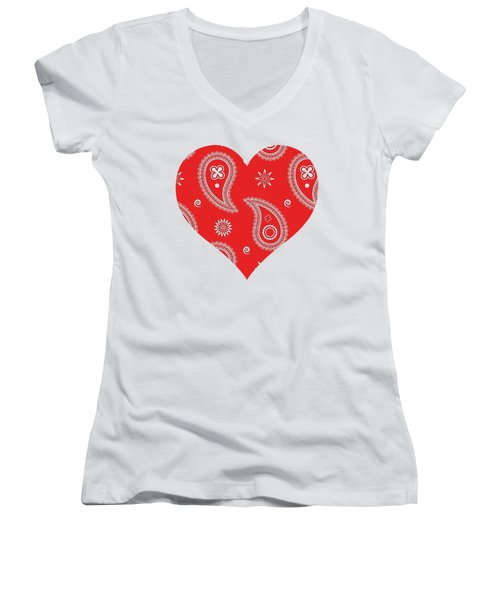 Red Paisley Women's V-Neck