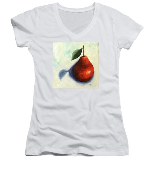 Red Pear In The Spotlight Women's V-Neck (Athletic Fit)